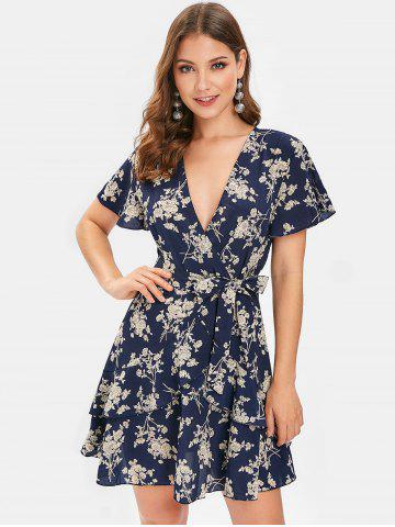 Plunging Neckline Floral Print Layered Mini Dress