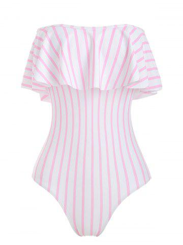 Off The Shoulder Striped Ruffled One-piece Swimsuit