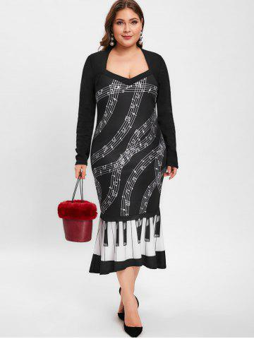 Music Note Print Plus Size Ruffle Hem Party Dress