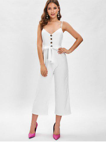 f9060448358 Spaghetti Strap Buttons Wide Leg Jumpsuit