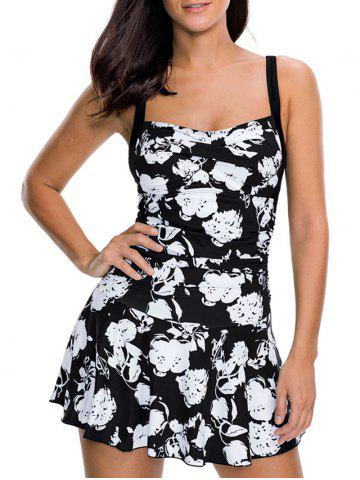 Criss Cross Floral Print Swim Dress