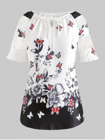 Lace Insert Plus Size Butterfly Print Blouse