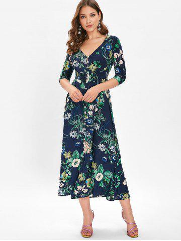 Buttons Up Floral Print Midi Dress