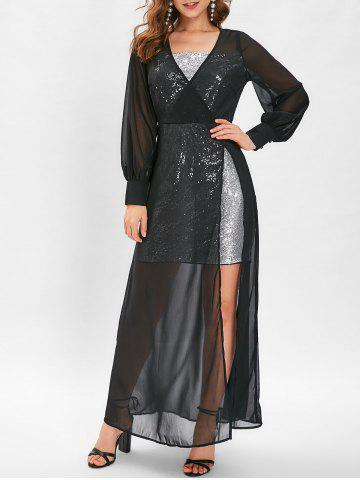Sequin High Slit See Through Maxi Dress - BLACK - L