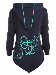 Button Christmas Printed Color Block Hoodie -