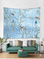 Flower Tree and Birds Print Tapestry Wall Hanging Art Decoration -