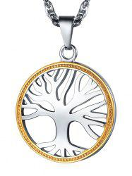 Two Tone Tree of Life Pendant Necklace -
