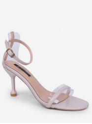 Clear Design Ankle Strap Heeled Sandals -