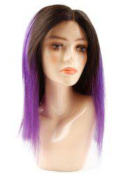 Medium Human Hair Ombre Straight Lace Front Wig -