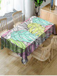 Colorful Palm Leaf Print Fabric Waterproof Tablecloth -
