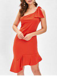 One Shoulder Bowknot Fishtail Dress -