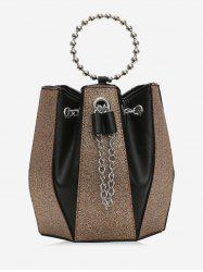Leather Joint Bucket Chain Shoulder Bag -