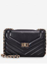 Leather Square Chain Shoulder Bag -