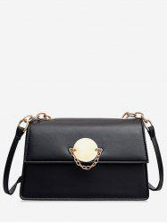 Leather Chain Design Square Shoulder Bag -