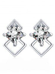 Rhombus Shape Rhinestone Stud Earrings -