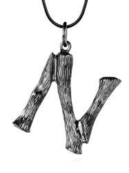 Alloy Bamboo Initial N Pendant Necklace -