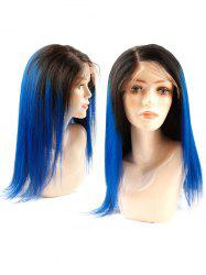 Human Hair Side Parting Ombre Straight Lace Front Wig -