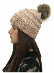 Fuzzy Ball Knitted Cap -