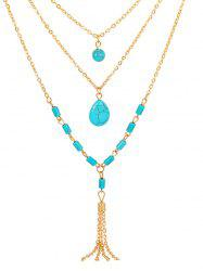 Multi Layered Turquoise Chain Necklace -