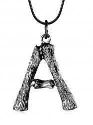 Initial Letter A Bamboo Design Necklace -