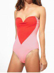 Contrast Heart Tube Swimsuit -