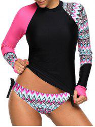 Long Sleeve Color Block Geometrical Tankini Set -