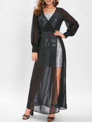 Sequin High Slit See Through Maxi Dress -