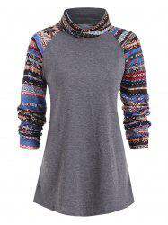 Turtle Neck Ethnic Print Top -