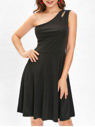 Cut Out One Shoulder Flare Dress -