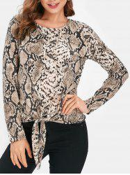 Snake Print Long Sleeve Knotted Top -