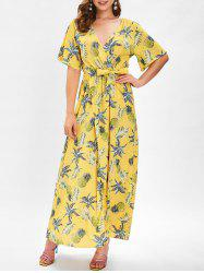 Short Sleeve Pineapple Print Warp Dress -