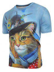 Cat with Cap Print Casual Short Sleeves T-shirt -