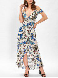 Butterfly Print Cold Shoulder Ruffle Dress -