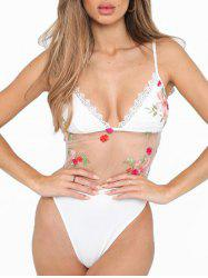 Floral Embroidered High Leg Swimsuit -