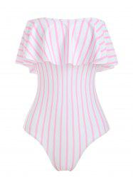 Off The Shoulder Striped Ruffled One-piece Swimsuit -