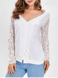 Button Up Lace Panel Long Sleeve Top -