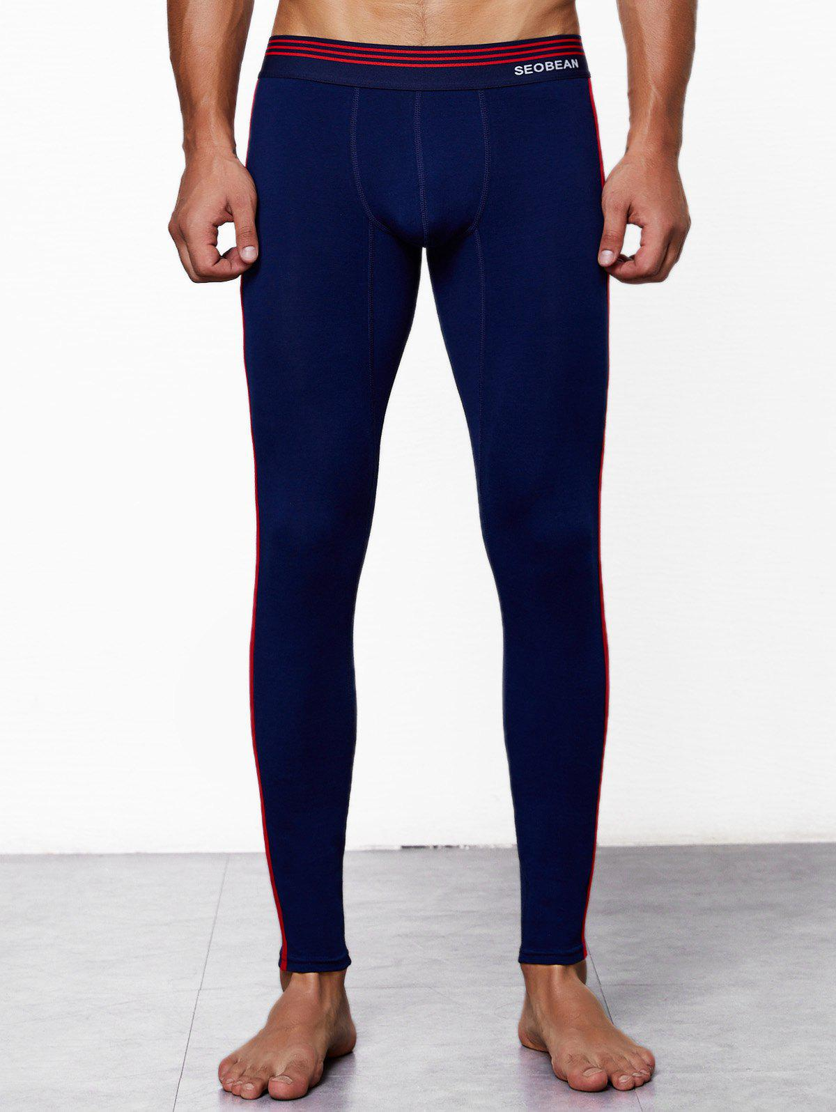 Close-fitting Solid Color Long Johns, Navy blue