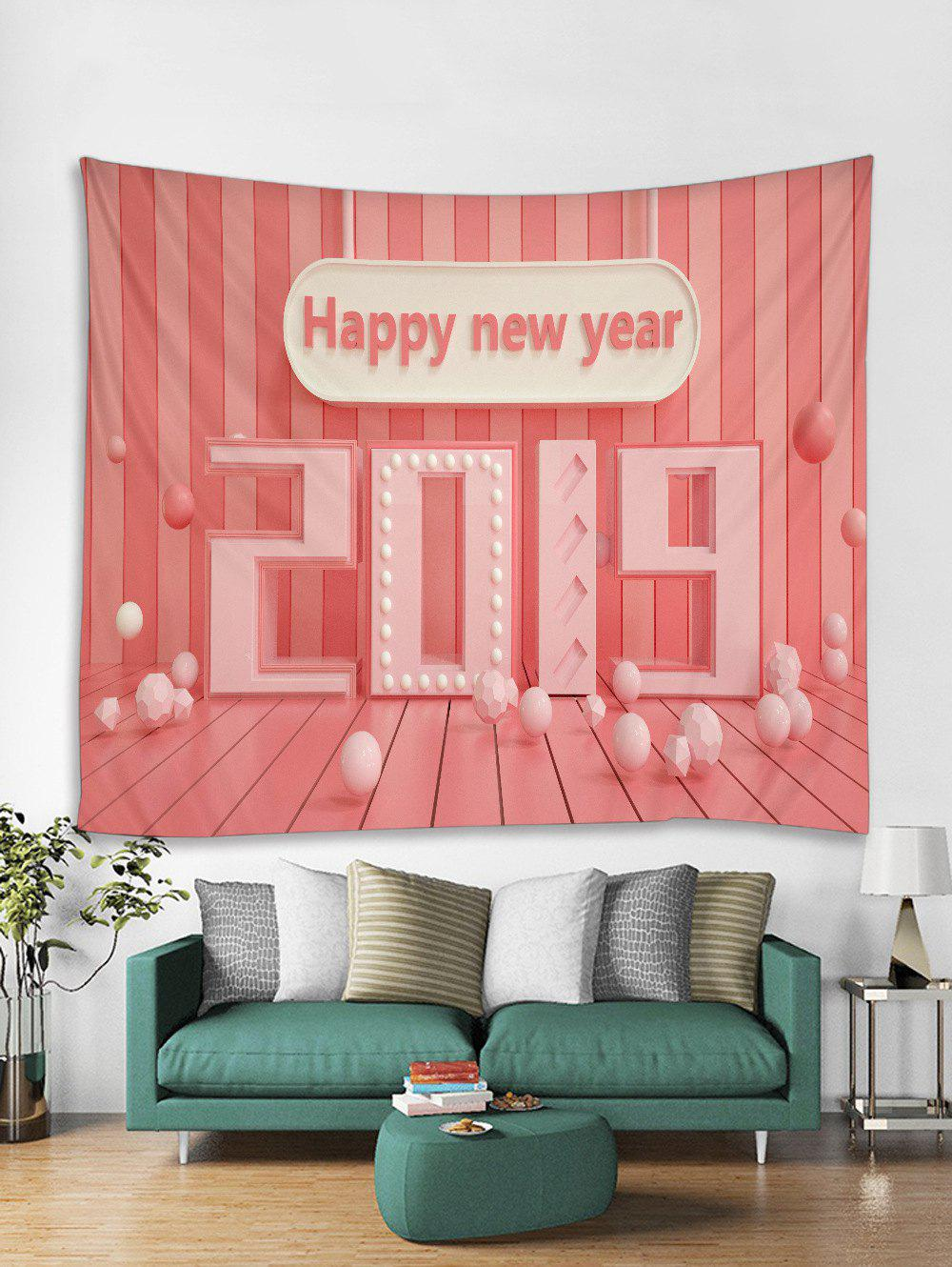 Unique Happy New Year 2019 Print Tapestry Wall Hanging Art Decoration