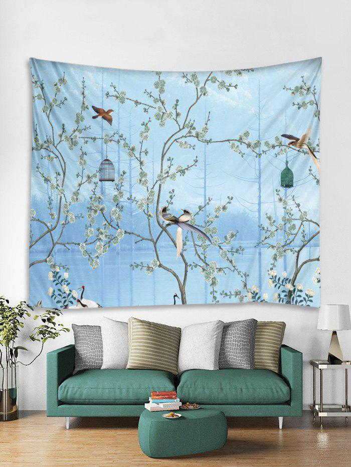 Trendy Flower Tree and Birds Print Tapestry Wall Hanging Art Decoration