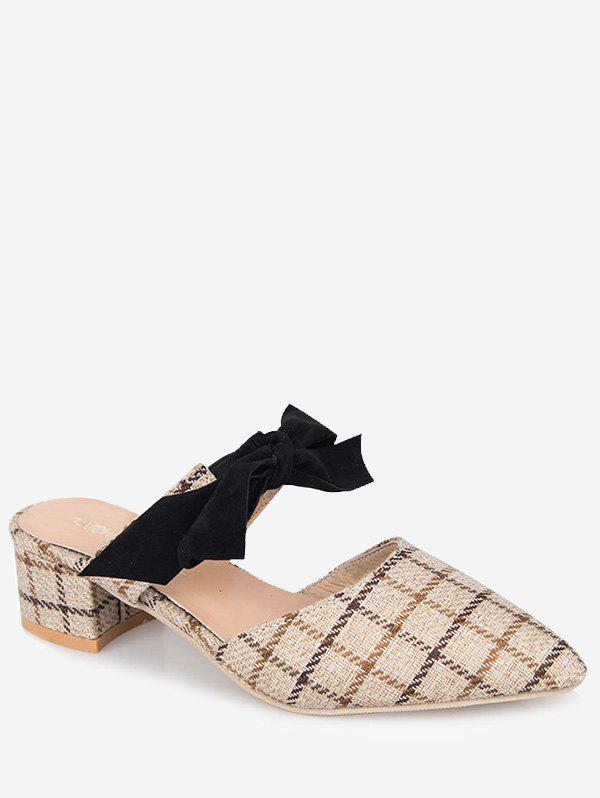 Fancy Plaid Print Pointed Toe Slingback Sandals
