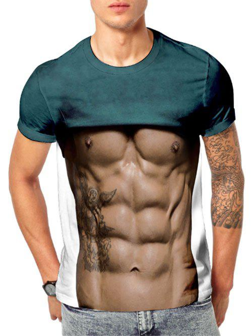 1645cb167f65 50% OFF] 3D Muscle Print Sexy Funny Short Sleeve T-shirt | Rosegal