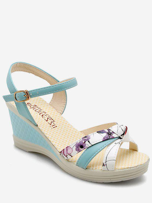 Cheap Floral Wedge Heel Ankle Strap Sandals