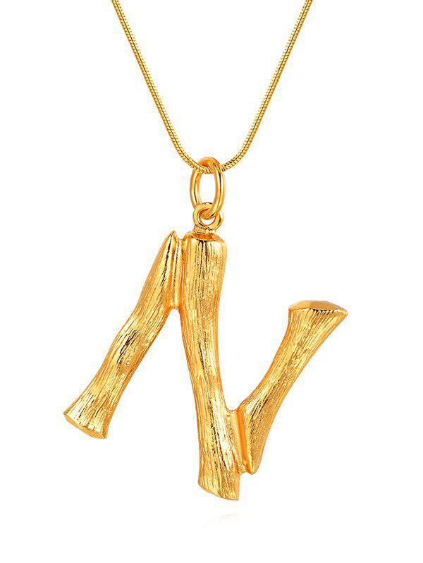 Buy Alloy Bamboo Initial N Pendant Necklace