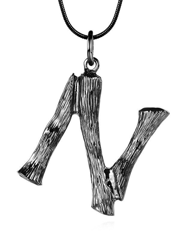 Hot Alloy Bamboo Initial N Pendant Necklace