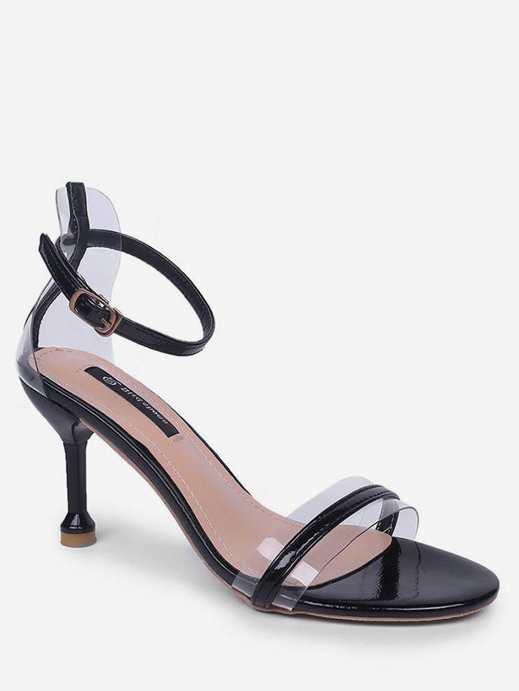 Discount Clear Design Ankle Strap Heeled Sandals