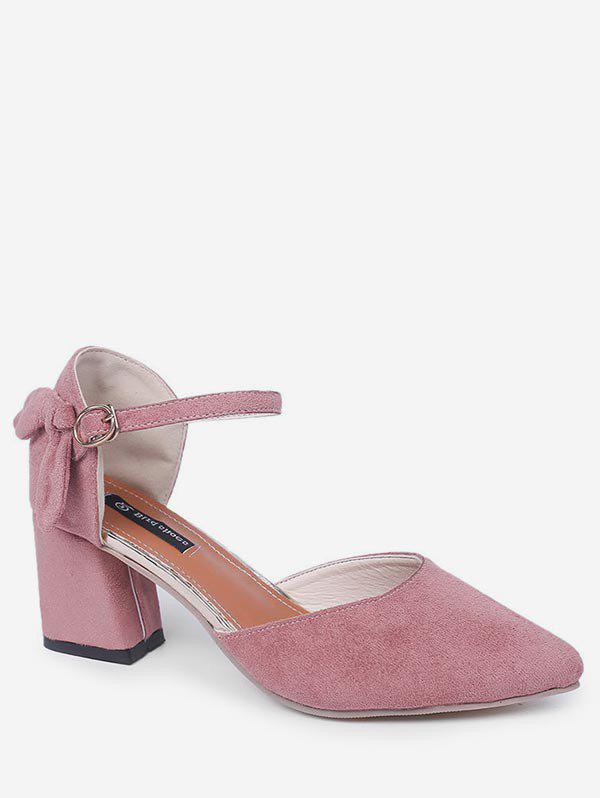 New Bow Pointed Toe Chunky Heel Sandals