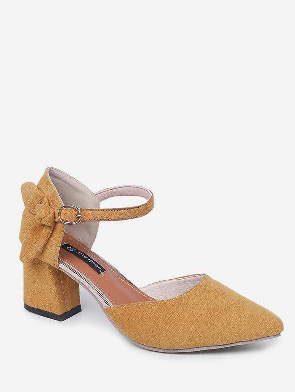 Trendy Bow Pointed Toe Chunky Heel Sandals