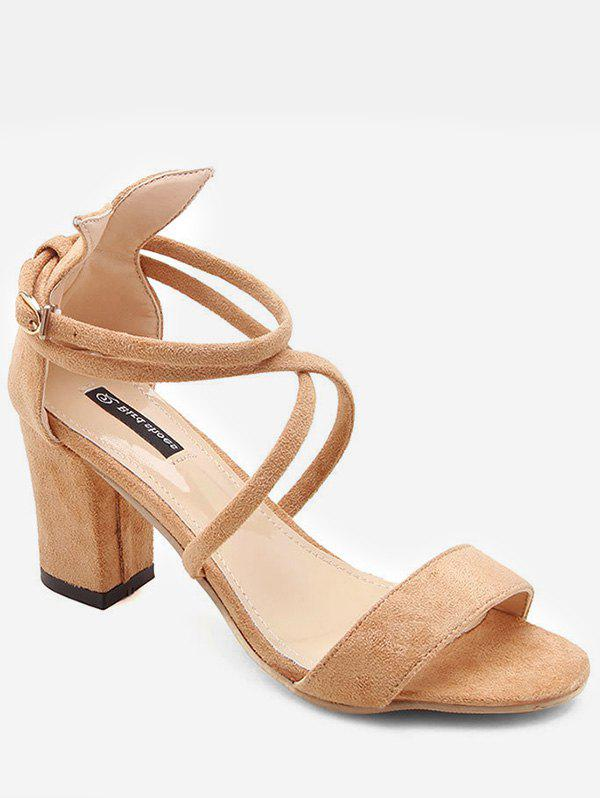 Chic Crisscross Ankle Strap Suede Sandals