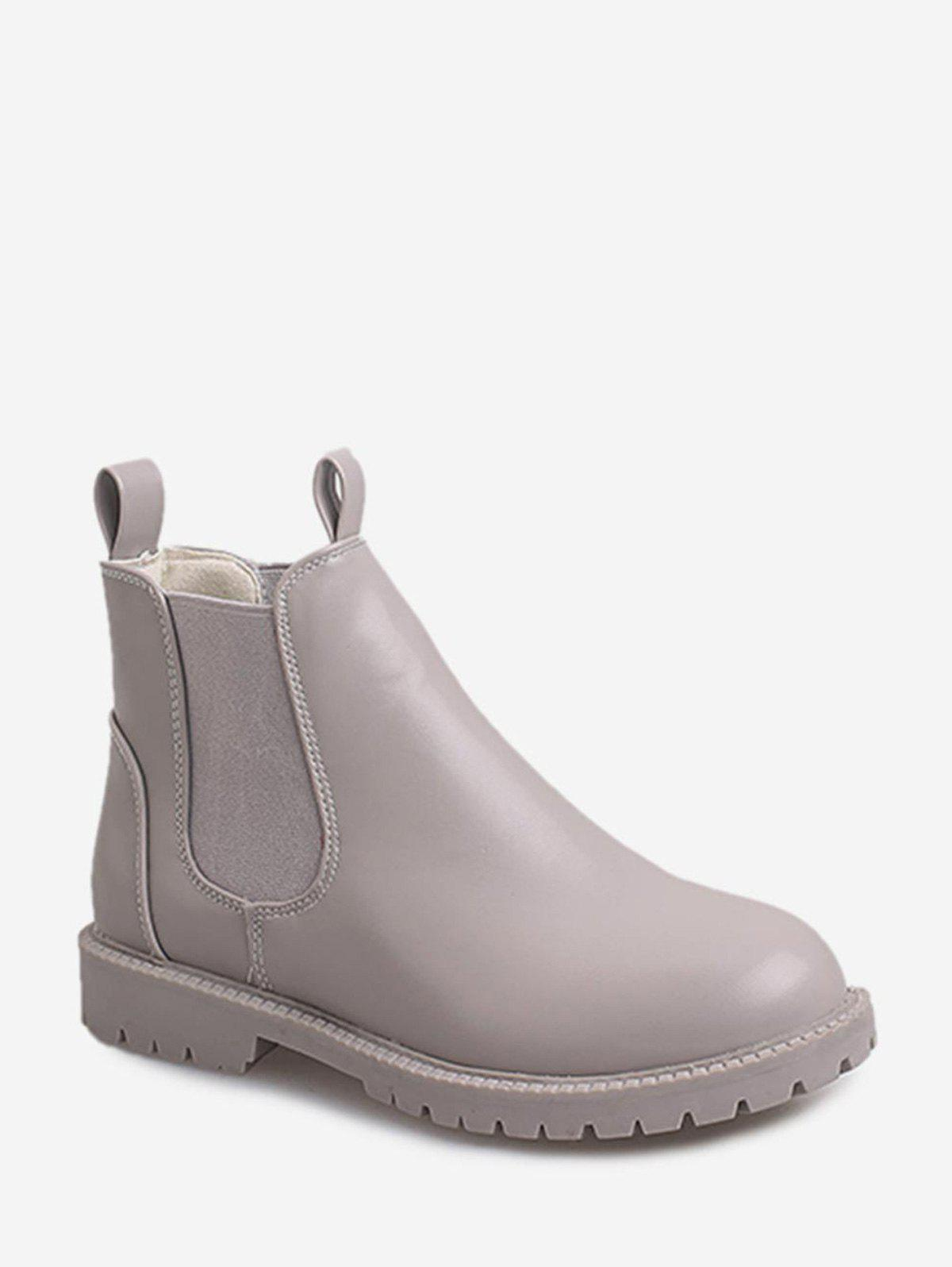 Sale Round Toe PU Leather Chelsea Boots