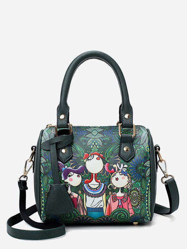 Chic Forest Printed Top Handle Crossbody Bag